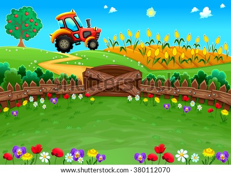 Funny landscape with tractor and cornfield. Cartoon vector illustration - stock vector