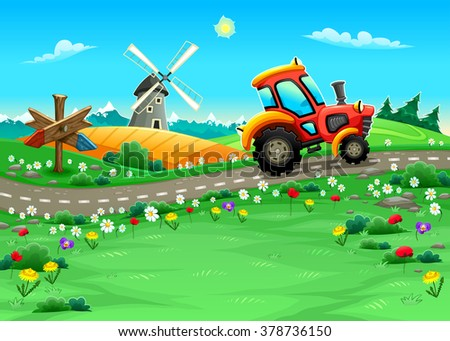 Funny landscape with tractor on the road. Cartoon vector illustration - stock vector