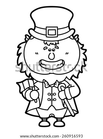 Funny Leprechaun Vector Illustration Coloring Page Of Happy Cartoon Which Is Holding Irish Flag