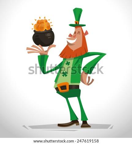 Funny leprechaun with gold, vector - stock vector