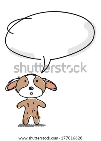 funny little baby dog with speech bubble - stock vector