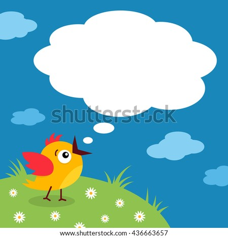 Funny little bird with open mouth and empty speech bubble on meadow and clouds background. Vector cartoon background.