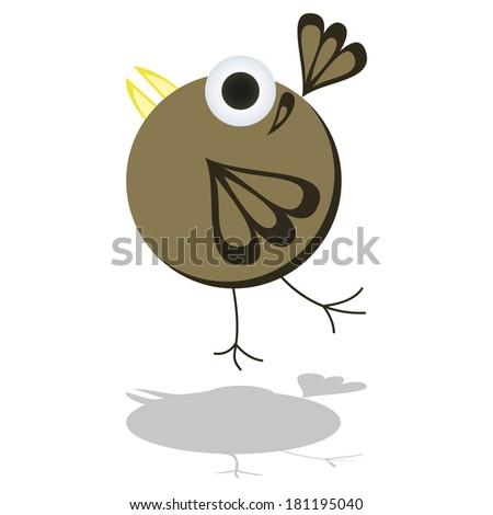 Funny Little Cartoon Bird Vector Illustration - stock vector