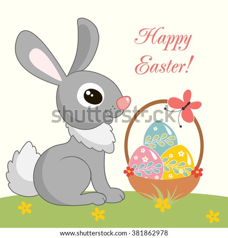 Funny little rabbits. Green grass, sky, clouds, daisy.  Easter Bunny with basket of eggs