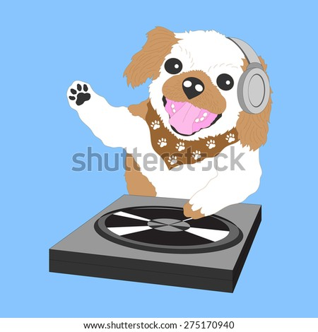 funny little shih tzu dog DJ hipster for fun party, vector design cartoon character - stock vector