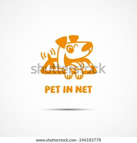 Funny logo for on-line services for pets with a dog in phone. Vector illustration. - stock vector