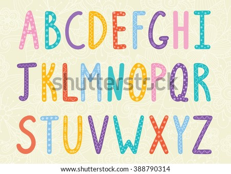 Funny long letters. Cartoon colorful alphabet for your design. Vector illustration
