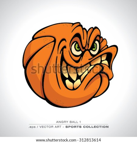 Funny looking Basketball Character with a Angry look Vector art - stock vector