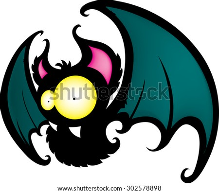 Funny looking cartoon bat isolated on white background