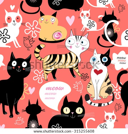 funny love with a cat pattern on a blue background with heart - stock vector