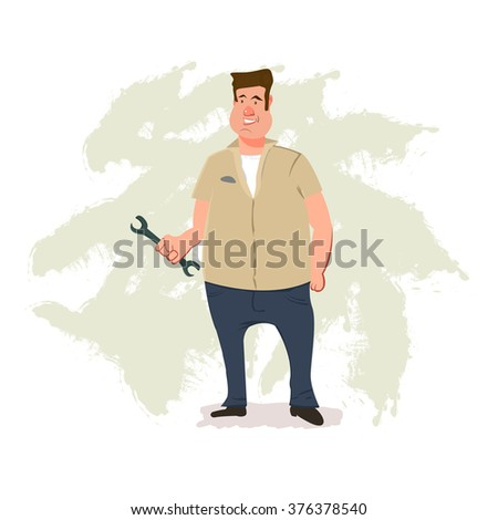 funny male mechanic holding a wrench, cartoon character, vector illustration - stock vector