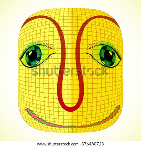 funny mardi gras mask with square patchwork, abstract vector art illustration