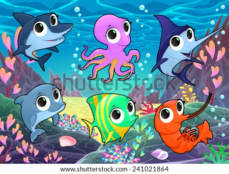 Funny marine animals in the sea. Vector cartoon illustration - stock vector