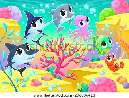 Funny marine animals under the sea. Cartoon vector illustration - stock vector