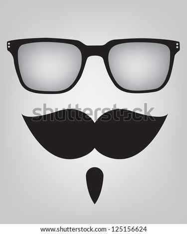 Funny mask sunglasses and mustache - stock vector