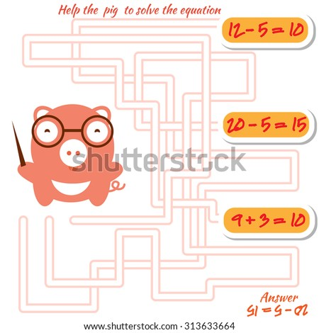 Funny maze game for kids. Visual game for preschool children. Maze puzzle with solution. Vector labyrinth for preschool children with pig. Rebus or quiz for school