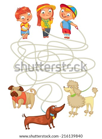 Funny maze game: help owners find their pets. Illustration with tangled lines. Funny cartoon character. Vector illustration. Isolated on white background - stock vector