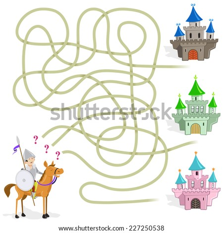 Funny Maze Game: the knight choose the way to castle - stock vector