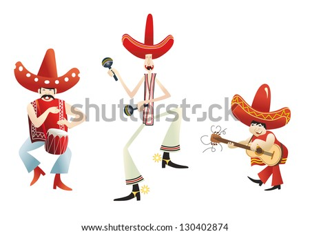 funny mexican band - stock vector