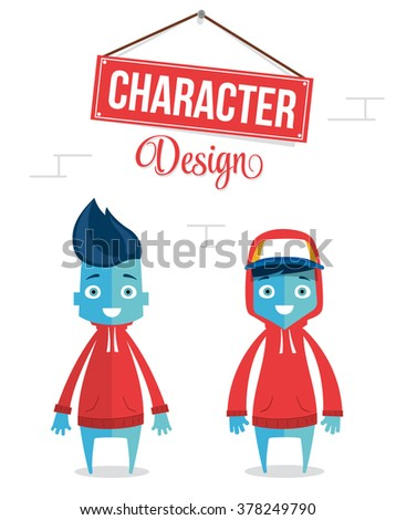 Funny Modern Young Cartoon Character Design - stock vector