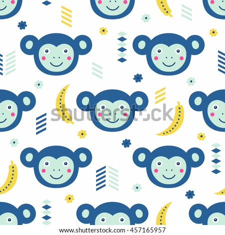 Funny monkey and banana seamless pattern. Vector illustration. Kid cloth design, wallpaper, wrapping.