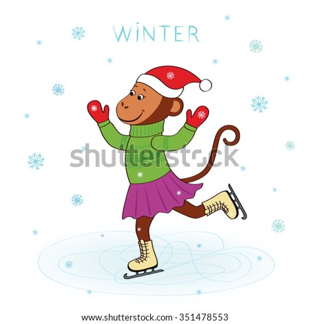 Funny monkey skate in skirt and hat vector cartoon isolated on a white background falling snowflakes. Christmas card, inscription - Winter. Symbol of New Year