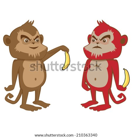 funny monkeys doing business with bananas Interacting Mischievously  and isolated - stock vector