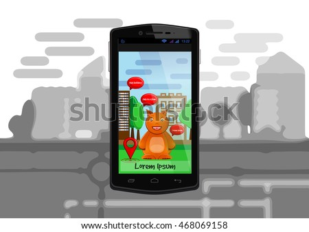 Funny monster like a cheerful anthropomorphic squirrel on the screen of Smartphone. Cute virtual monsters and elements of augmented reality in mobile phone. Vector illustration