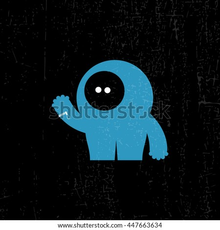 Funny monster on grunge background, cartoon illustration, vector