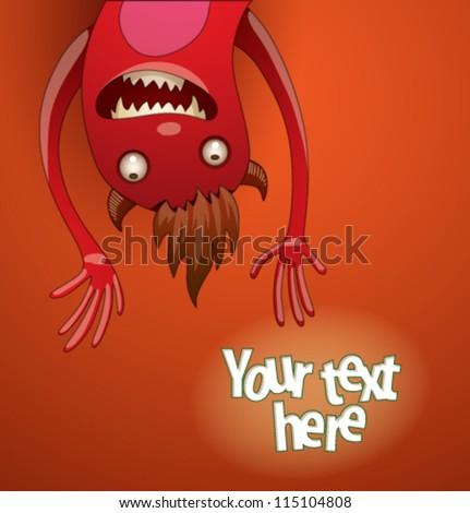 Funny monsters background 05, vector - stock vector