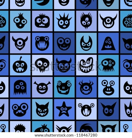 Funny monsters. Blue squared seamless pattern.