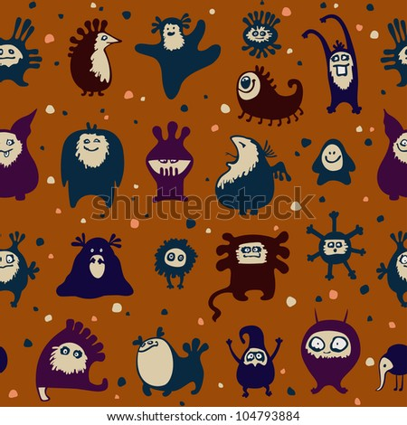 Funny monsters seamless pattern, on green background.