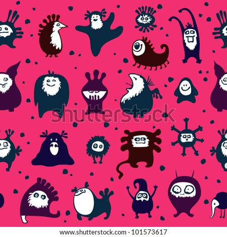 Funny monsters seamless pattern, on red background.