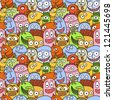 Funny monsters seamless vector pattern. - stock vector
