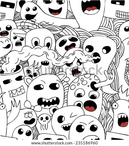 Funny monsters seamless vector pattern in black and white - stock vector