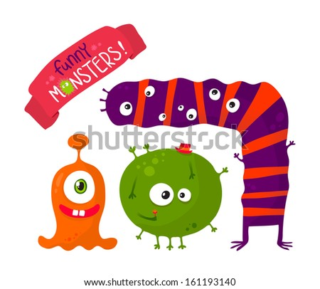 Funny monsters set, isolated on white - stock vector