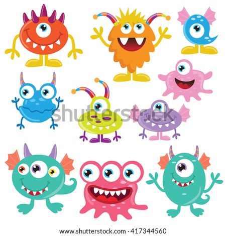 Funny monsters vector illustration