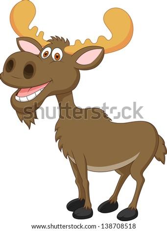 Funny moose cartoon - stock vector