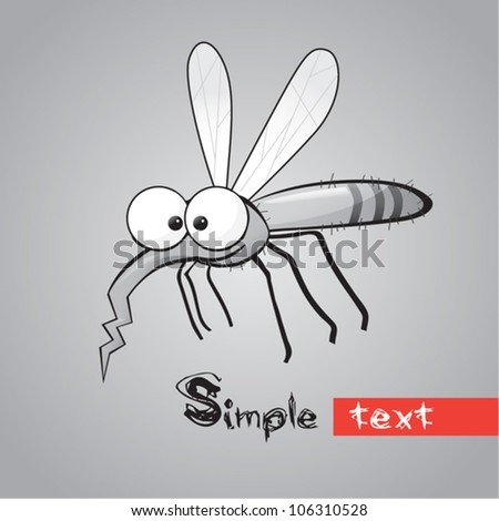 funny mosquito - stock vector