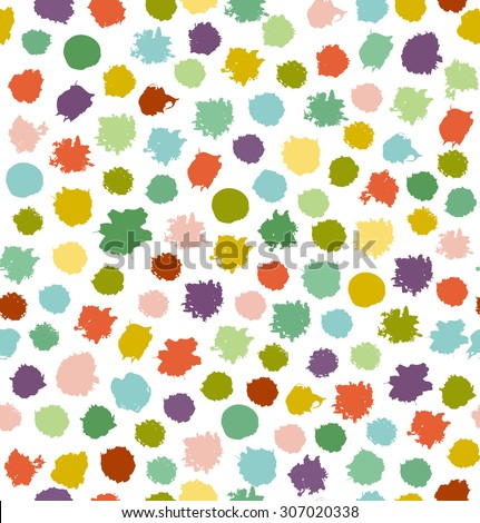 Funny  multicolor abstract seamless background. Dotted texture. Pattern with spots of ink. Blots. Stains - stock vector