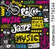 funny music doodles - stock vector