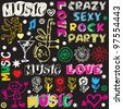 funny music doodles, crazy party scribbles - stock vector