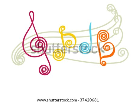 funny musical notes. vector - stock vector
