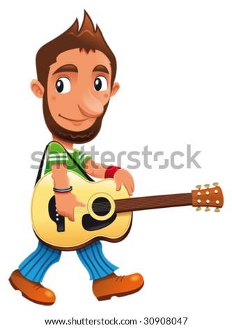 Funny musician - stock vector