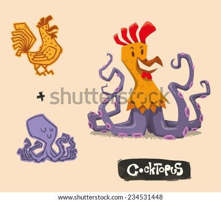 Funny Mutant Hybrid, Cock plus Octopus, vector - stock vector