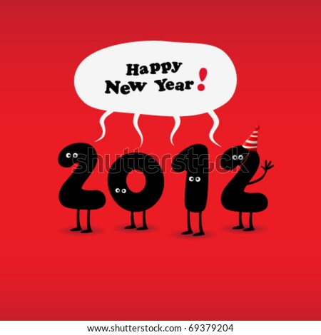 Funny 2012 New Year's Eve greeting card - stock vector