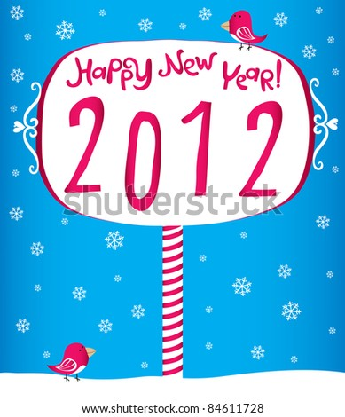 Funny New Year's Eve greeting card - stock vector