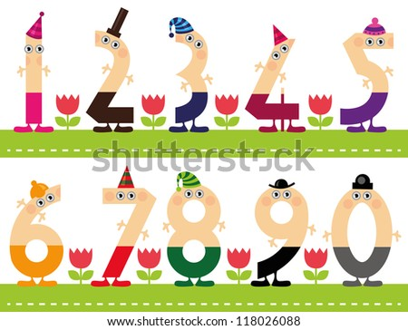 Funny Numbers, Colorful funny numeral Characters, ideal for beginners in math - stock vector