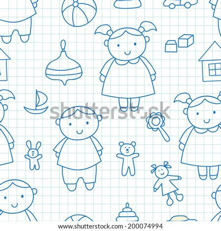 Funny outline vector seamless pattern with kids.Girl, boy and toys. Ideal for textile, wallpaper, wrapping, web pages, etc. - stock vector