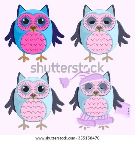 Funny owl - stock vector